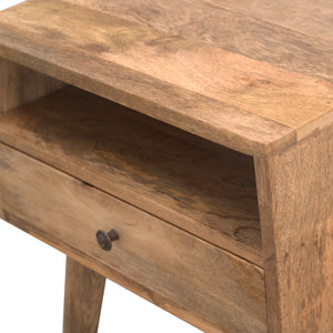 Modern hand-made bedside with 1 drawer and open slot in oak effect