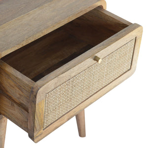 Hand-made beside table with woven drawer
