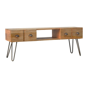 Media unit with Iron Base. Beautifully hand-crafted solid wood furniture. Great addition to your home. Exclusively available at thecarpenters.co.uk.
