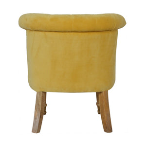 Milan Accent Chair in Mustard Velvet. Add this classy chair to your home. Hand-crafted to perfection. Exclusively available at thecarpenters.co.uk.