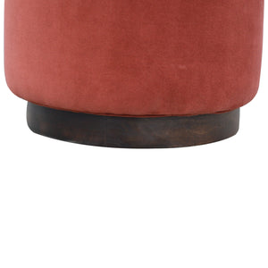 Morisse Footstool with Wooden Base in Rust Velvet. Beautifully hand-crafted velvet and solid wood. Exclusively available at thecarpenters.co.uk.