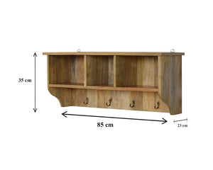 Mounted Coat Rack with 3 Shelves. Beautifully hand-crafted solid wood furniture. Exclusively available at thecarpenters.co.uk.