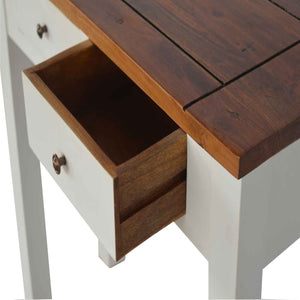 Country Style Narrow Console Table Two Toned. Constructed from solid mango wood. Furniture at its finest only at www.thecarpenters.co.uk Exclusive solid woof furniture deals
