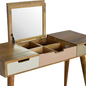 Nordic 3 Drawer Hand Painted Dresser with Foldable Mirror. Beautifully hand-crafted drawer. Made to perfection. Exclusively available at thecarpenters.co.uk.