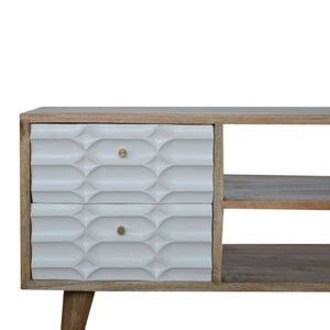 Solid wood media unit with capsule style white painted drawers