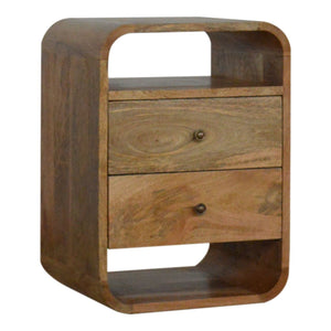 Solid wood 2 drawer bedside table in oak effect