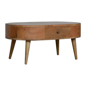 Coffee Table Nordic carved made of mango wood, a solid wood furniture made by hand
