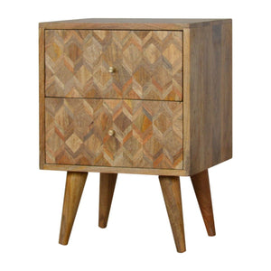 Bedside Nordic carved in oak-ish, solid wood furniture made by hand also for storage and display