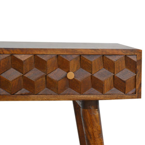 Console Table Nordic carved chestnut, solid wood furniture made by hand