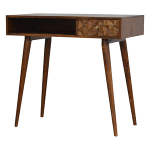Nordic Chestnut Diamond Carved Writing Desk. Simple yet elegant addition to your home. Hand-crafted to perfection. Exclusively available at thecarpenters.co.uk.