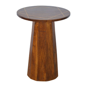 End table with Gold Geometric Print Chestnut solid wood furniture made by hand