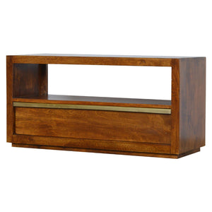 Solid wood media unit with golden bar handle in chestnut color