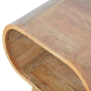 Solid wood circular bedside table in oak effect