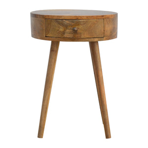 Nordic Circular Shaped Bedside. Beautifully hand-crafted solid wood furniture. Ideal addition to your bedroom. Exclusively available at thecarpenters.co.uk.