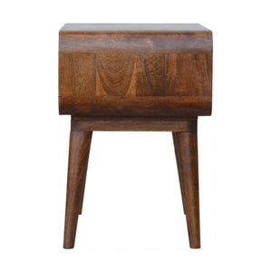 Beautiful circular open bedside table in chestnut color