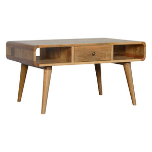 Coffee Table Nordic curved in oak-ish, a solid wood furniture made by hand