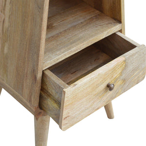 Hand-made rounded bedside table with 1 drawer and slot in oak effect
