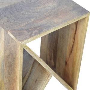 Side table geometric design oak-ish solid wood furniture made by hand