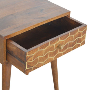 Solid wood single drawer bedside table with golden pattern inlay