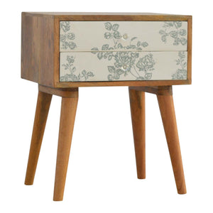 Beautiful hand-made bedside table with green floral screen printed drawer