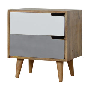 Nordic Grey Painted Bedside with Cut out Slots. Hand-crafted to perfection. Simple yet stylish design for your bedroom. Exclusively available at thecarpenters.co.uk.