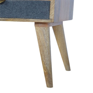 Hand-made bedside table with grey tweed, upholstered drawer and open slot