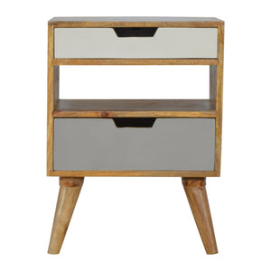 Nordic Grey and White Cut-out Bedside. Beautifully hand-crafted solid wood furniture. Exclusively available at thecarpenters.co.uk.