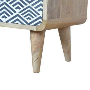 Nordic Monochrome Print Bedside Table with 2 Open Slots and 2 Drawers. Hand-crafted to perfection. Exclusively available at thecarpenters.co.uk.