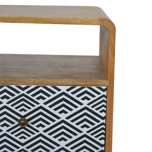 Nordic Monochrome Print Bedside Table with Open Slot