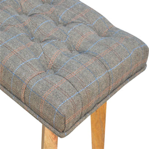 Hand-made hallway bench with upholstered multi tweed and 1 drawer