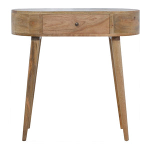 Console Table Nordic carved petite oak-ish, solid wood furniture made by hand
