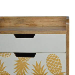 Beautiful hand-made pineapple printed 3-drawer bedside table