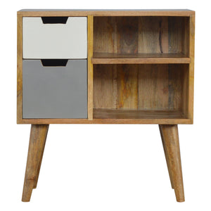 Nordic Style Grey Hand Painted Open Cabinet with 2 Drawers. Hand-crafted to perfection. Ideal addition to your home. Exclusively available at thecarpenters.co.uk.