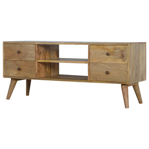 Nordic Style Media Unit with 4 Drawers. Beautifully hand-crafted solid wood furniture that will freshen up your living room. Exclusively available at thecarpenters.co.uk.