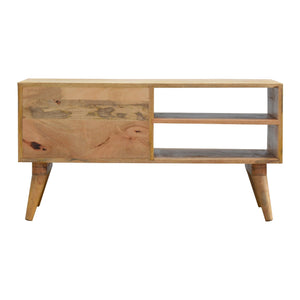 Nordic Style Media Unit with Foliage Leaf Print Drawer Front. Beautifully hand-crafted solid wood furniture. Exclusively available at thecarpenters.co.uk.