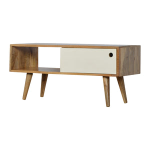 Nordic Style Media Unit with White Hand Painted Sliding Door. Beautifully hand-crafted solid wood furniture. Exclusively available at thecarpenters.co.uk.
