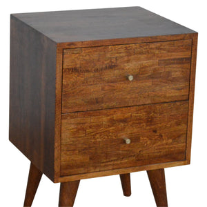 Nordic Style Mixed Chestnut Bedside. Beautifully hand-crafted solid wood furniture. Exclusively available at thecarpenters.co.uk.