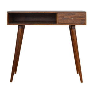 Nordic Style Mixed Chestnut Writing Desk. Beautifully hand-crafted solid wood furniture. Exclusively available at thecarpenters.co.uk.