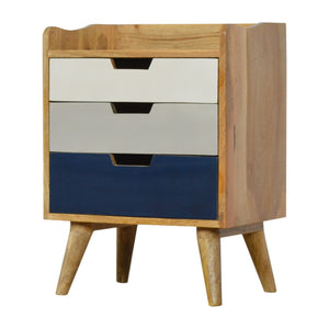 Nordic Style Navy and White Gradient Bedside Table. Beautifully hand-crafted solid wood furniture. Perfect for any bits and pieces near your bed. Exclusively available at thecarpenters.co.uk.
