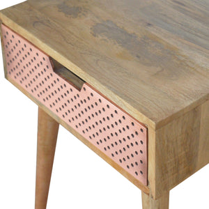 Nordic Style Perforated Copper Bedside. Beautifully hand-crafted solid wood furniture. Exclusively available at thecarpenters.co.uk.
