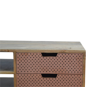Nordic Style Perforated Copper Front Drawers Media Unit. Simple yet classy addition to your living room. Hand-crafted to perfection. Exclusively available at thecarpenters.co.uk.