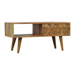 Nordic Style Pineapple Carved Media Unit with Sliding Door. Beautifully hand-crafted solid wood furniture. Exclusively available at thecarpenters.co.uk.