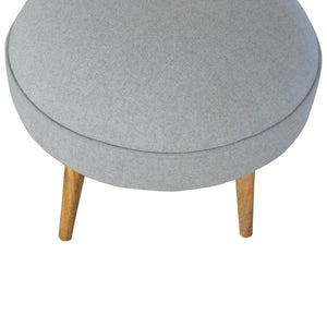 Nordic Style Round Footstool in Grey Tweed. Beautifully hand-crafted solid wood furniture. Exclusively available at thecarpenters.co.uk.