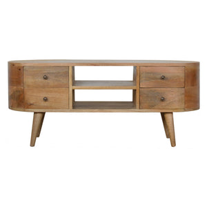 Nordic Style Rounded Media Unit. Beautifully hand-crafted solid wood furniture. Exclusively available at thecarpenters.co.uk.