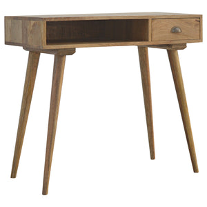 Nordic Style Solid Wood 1-Drawer Writing Desk with Open Slot. Beautifully hand-crafted solid wood furniture. Exclusively available at thecarpenters.co.uk.