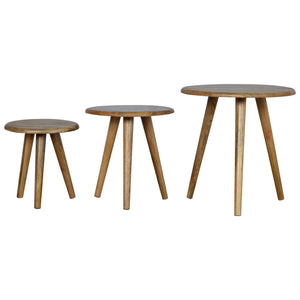 Nordic Style Stool Set of 3. Solid wood furniture hand-crafted to perfection. Exclusively available at thecarpenters.co.uk.