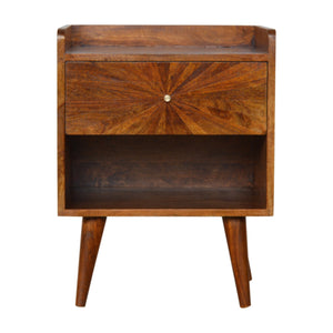 Nordic Style Sunrise Patterned Chestnut Bedside. Beautifully hand-crafted solid wood furniture. Exclusively available at thecarpenters.co.uk.
