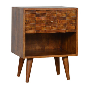 Nordic Style Tile Carved Chestnut Bedside with Open Slot. Beautifully hand-crafted solid wood furniture. Exclusively available at thecarpenters.co.uk.