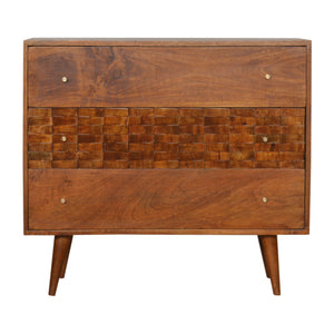 Nordic Style Tile Carved Chestnut Chest. Beautifully hand-crafted solid wood furniture. Exclusively available at thecarpenters.co.uk.
