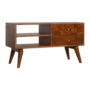 Nordic Style Tile Carved Chestnut TV Unit. Beautifully hand-crafted solid wood furniture. Exclusively available at thecarpenters.co.uk.